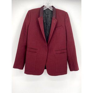 The Kooples Contrast Collar Blazer Burgundy M